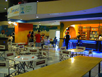 In the underground floor of the shopping center there was a café with karaoke, pool and bowling.