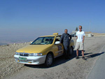 After having seen Petra, we took a taxi to the Israeli border just north of the Dead Sea. The picture shows André and the taxi driver during a short stop at a hill overlooking the Dead Sea. We were planning on going to Jerusalem that day, but discovered that the border had closed an hour before we arrived. So then we had to go find a hotel at the Jordanian side of the Dead Sea.