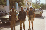 Here I am out in the city on a mission. The two other guys are local Somali police. The police force was established, and paid for, by the UN.