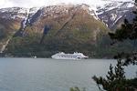 The cruise ship AIDAblu in Hardanger fjord.