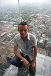 (English) Two days before my visit, four new glass-bottomed balconies opened to the public at the 103rd floor of Sears Tower. From the glass floor it is 412 meters down to the street.