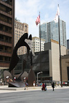 (English) This sculpture at 50 W Washington Street was designed by Pablo Picasso.
