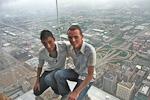 (English) Erick and me on the glass balcony.