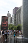 (English) The Crown Fountain is an interactive work of public art in the Millennium Park.