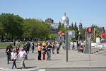 The Entrance to Centre des Sciences de Montreal. The silver dome belongs to Marche Bonsecours (a shopping center).