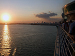 (English) The sun was setting as we sailed away from Miami.