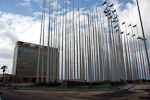 The Americans turned the United States Interest Section into a gigant billboard and posted messages on the building. The Cubans replied by planting 148 flag poles in front of it.