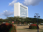 (English) Jamaica Pegasus Hotel seen from Emancipation Park.