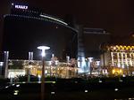 The Hyatt hotel at night.