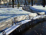 Benches in Karlovo Namesti after a snownfall.